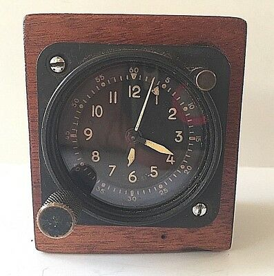 Vintage Waltham A-13A Aircraft Clock 8 Day Military Cockpit Dash Clock Works
