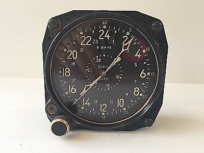 Vintage A-13A Waltham Aircraft Clock 8 Day Military Cockpit Clock-Not working