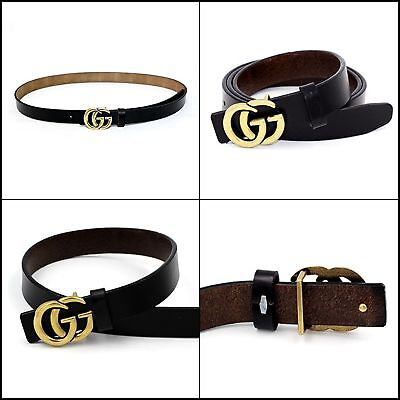 Womens Genuine Leather Thin Belts 0.9″ Wide With Fashion Letter Buckle For Jeans