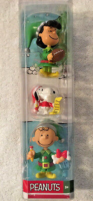 Peanuts Christmas Holiday Figures Snoopy Charlie Brown Lucy PVC Plastic 3 Pc New