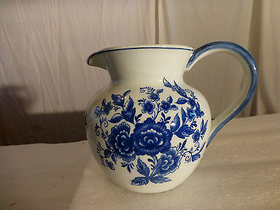 SADEK PITCHER -  White w/Blue Flowers by Andrea by Charles Sadek  - Height 6""