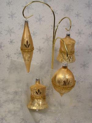 Vintage Lot Of 4 Glass  Christmas Ornaments Gold With Braid Bells & Teardrops