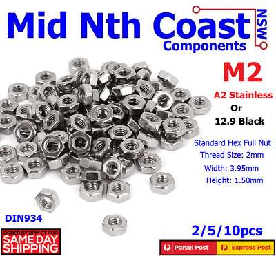 2/5/10pcs M2 (2mm) 304 A2 70 Stainless Steel Standard Hex Nuts 0.40 Pitch