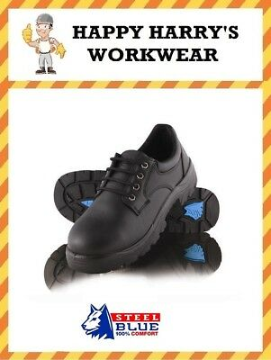 Steel Blue Eucla Black Leather Lace-Up Safety Shoe 312126 NEW IN BOX!