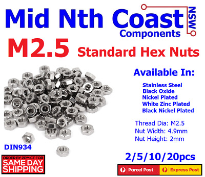 2/5/10pcs M2.5 (2.5mm) 304 A2 70 Stainless Steel Standard Hex Nuts 0.45 Pitch
