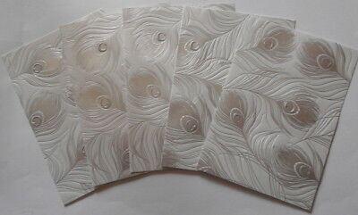 Cristina Re Luxury Lustre Paper with Silver Foil x 5  PEACOCK PLUMES 15x10.5cm