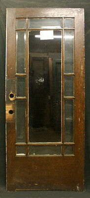 "36""x83 Antique Vintage Arts Crafts Exterior Entry Door Window Beveled Glass Lite"