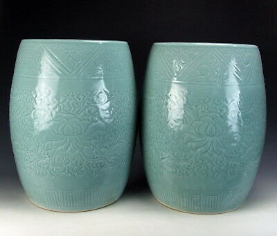 Chinese Antique Pair Of Longquan Ware Sky-blue Glazed Porcelain Garden Stools