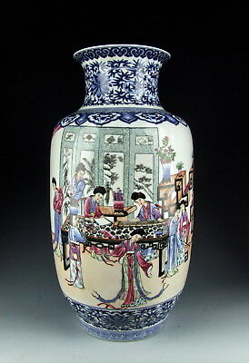 Chinese Antique B&W Famille Rose Porcelain Vase with Ancient Beauties Deco
