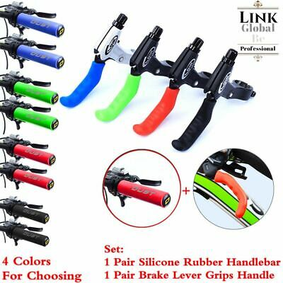 Bicycle Silicone Rubber Handlebar + Brake Lever Grips Handle Protector Sleeves