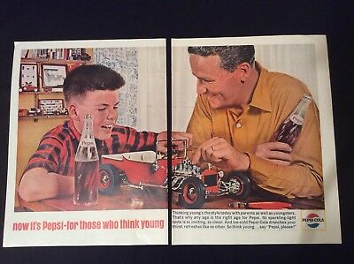 1964 Pepsi-Cola 2-Page Print Ad - Father & Son Working Together On A Model Car