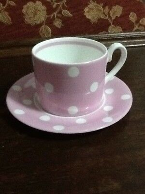 Cath Kidston Pink With White  Spot Cup And Saucer By Queen's