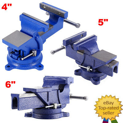 "4"" 5"" 6"" Engineer Vice Vise Swivel Base 360° Workshop Clamp Jaw Work Bench Table"