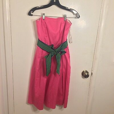 5a4170152db239 Lilly Pulitzer Pink Strapless Dress Blue Green Striped Grossgrain Ribbon  Size 0