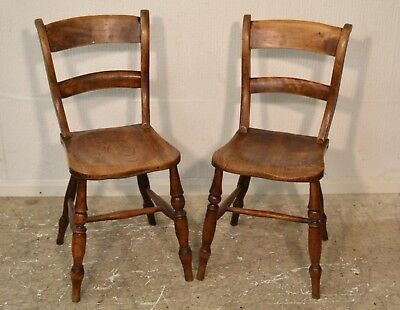 Pair of Vintage/Antique Victorian? Wooden Oak Dining/Kitchen Chairs - 3072