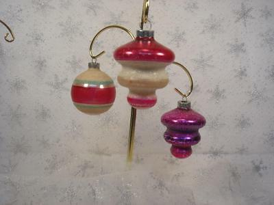 Lot Of 3 Vintage Shiny Brite Pink Glass Christmas Ornaments Tornado Mica Glitter