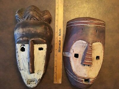 2 Vintage Carved Wood African Masks Made In Zaire (now DR Congo)