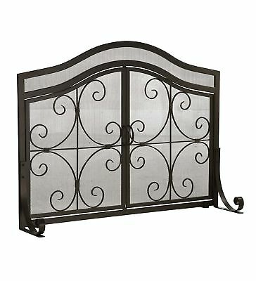 Small Crest Fireplace Screen with Doors Solid Wrought Iron Frame with Metal M...