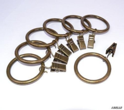 Ellami 20-pack Antique Brass Matte Metal Curtain Rings with Clips 1""