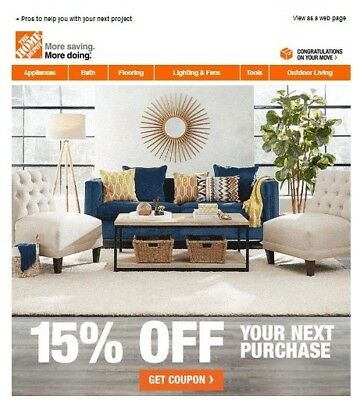 One (1x) Home Depot 15% Off-Coupon Save upto $200 In-Store Only---