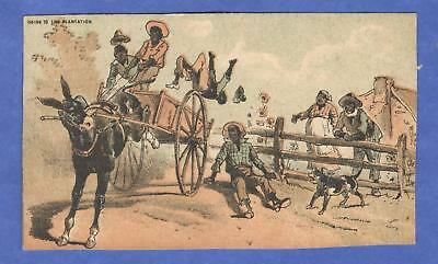Going To The Plantation Horse Bucks Men Fall Off Cart Black Americana Trade Card