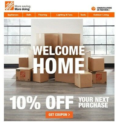 One (1x) Home Depot 10% Off-Coupon Save upto $200 In-Store Only--