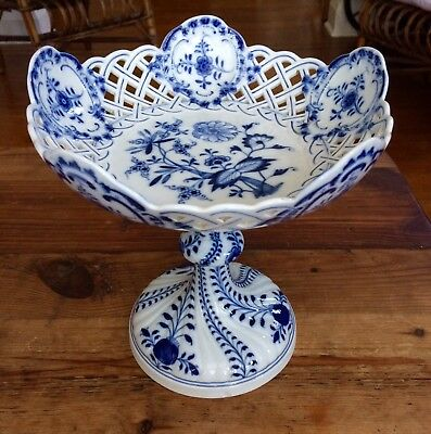 Meissen Blue Onion Compote W/ Reticulated/open-Work Bowl