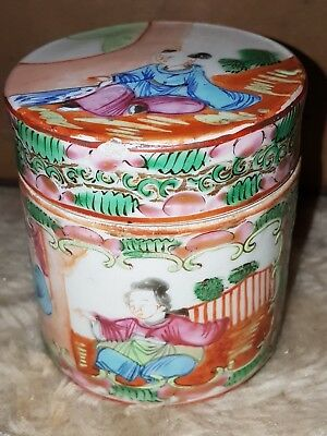 ANTIQUE FINE  CHINESE 19TH C FAMILLE ROSE CANTON  TEA  CADDY with ENAMEL