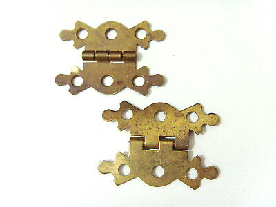 Vintage Pair Unused Butterfly Ornate Brass Hinges for Writing Slopes Wood Boxes