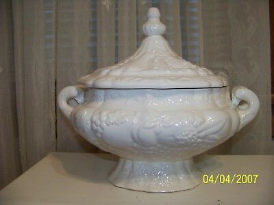Antique Vintage White Embossed Ceramic 2 pc Soup Tureen Without Ladle