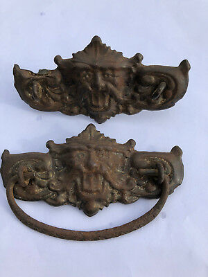 Two Brass Antique Ornate Gargoyles or Lion Face Drawer Pull Back Mounting Plate