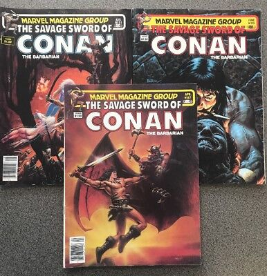 Marvel Magazine Group: The Savage Sword Of Conan The Barbarian Comics, Lot Of 3