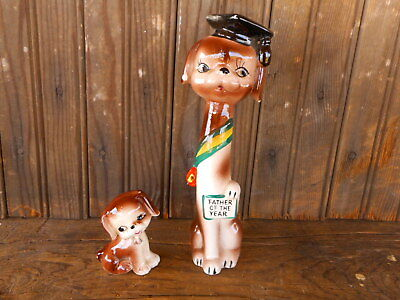 VINTAGE Set of 2 Ceramic Puppy Dogs Father of the Year Kitschy Fathers Day Used