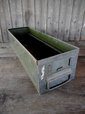 Vintage Metal Box Drawer Storage Industrial Rustic Primitive Farm Garden #5