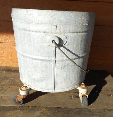 Farmhouse GALVANIZED BUCKET Vintage Mop INDUSTRIAL COUNTRY PLANTER Geerpres