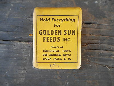 Farm Feeds Collectible Vintage Golden Sun Feeds Yellow Metal Clip Clamp