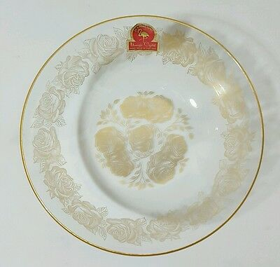 Vintage Flamingo Crystal 24k Gold Bowl With Sticker Hand Made Holland c1950s EUC