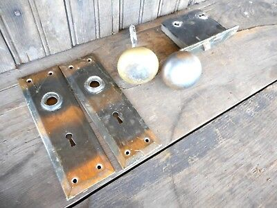 Japanned Tiger Strip Door Knob key plates Antique Arts Craft Salvage  Farmhouse