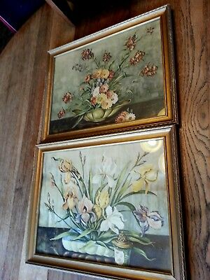 Beautiful Pair (2) Vintage Antique Framed Floral Print Pictures Shabby apx 18x14