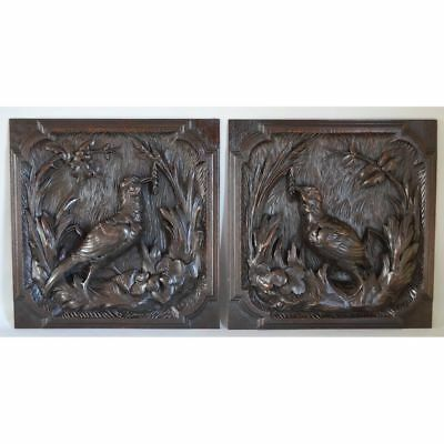 BEST Antique Pair of Carved Oak Wood French Hunt Wall Plaque Game Bird Panels