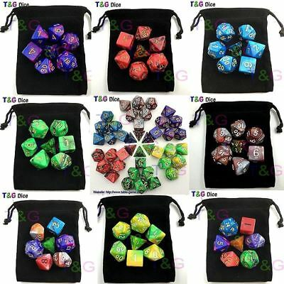 7pcs  Dice Set d&d d4,d6,d8,d10,d12,d20 Polyhedral Dice rpg game dice with bag