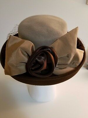 Women's Whittall & Shon Hat 100% Felted Wool Derby Church Steampunk Easter