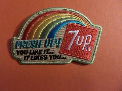 "'FRESH UP "" 7UP muliti colored  IRON ON 2-1/4 X 3-1/2 PATCH"