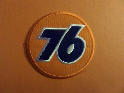 UNION 76 LOGO BLUE & SILVER & ORANGE   Embroidered 3 x 3 Iron On PATCH