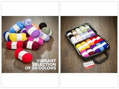20 Soft Acrylic Crochet Yarn Set Assorted Colors Crafting Knitting Kit W/ Bag