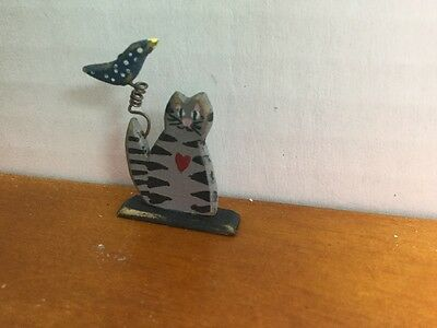 1:12 Handcrafted Wooden Folk Art Cat with Bird