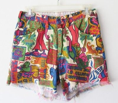 Rare Vtg 60's Mod Pop Art Hippie Boho Psychedelic LAUGH-IN Cut Off Short S/M 29""