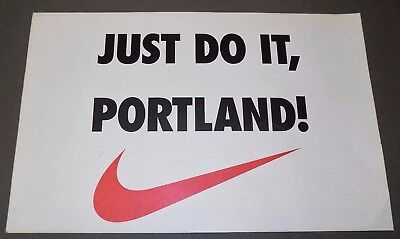 NIKE - JUST DO IT, PORTLAND! swoosh 1990s running sports advertising sign poster
