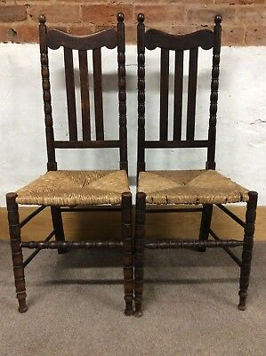 Pair of Antique / Vintage Wicker / Rattan / Rush Seat Chairs for Hall or Bedroom