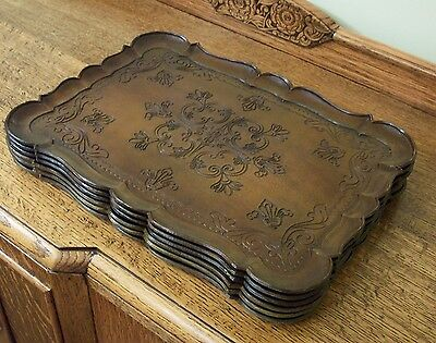 Vintage Fancy Serving Trays, Set of Six, French Provential Style, light weight
